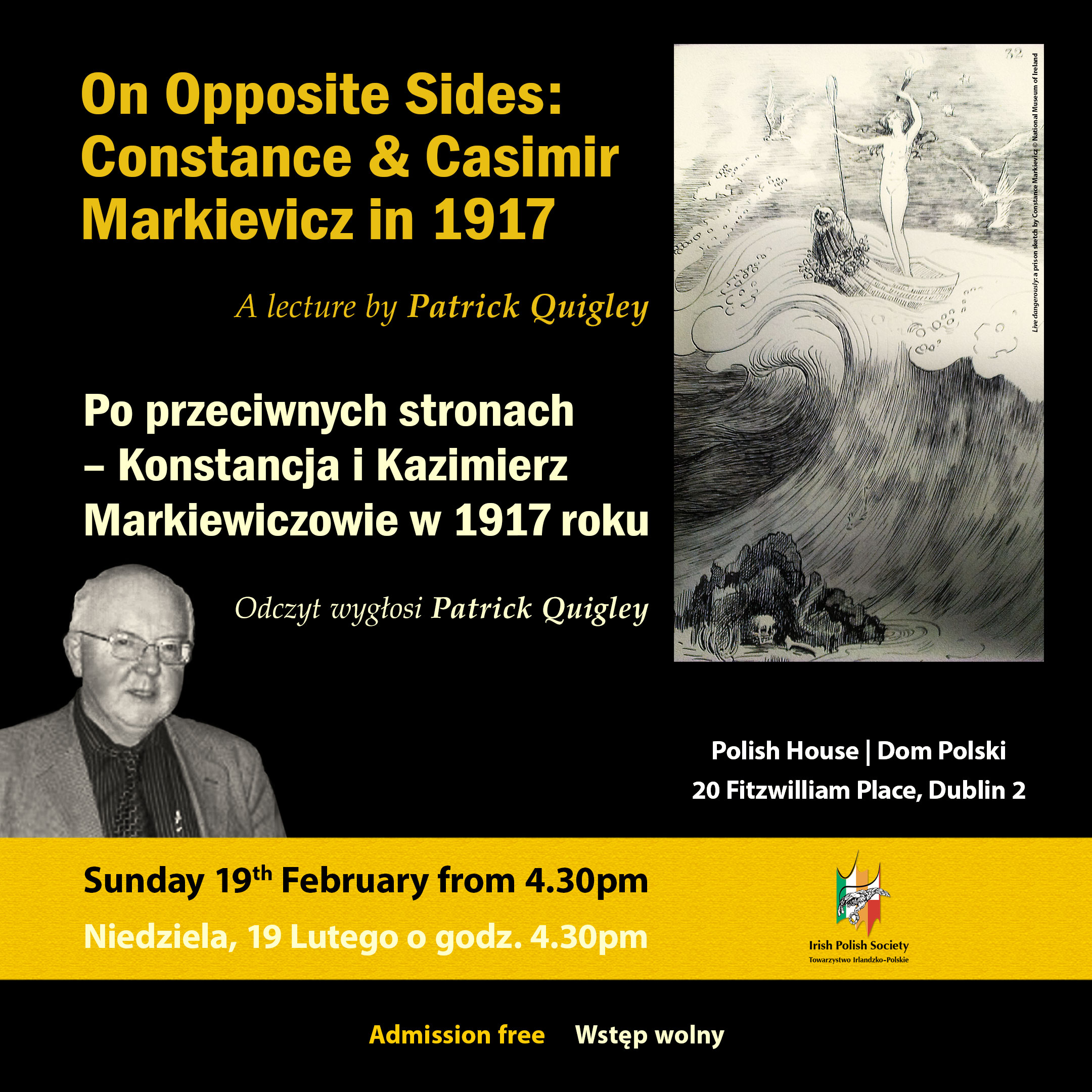 On Opposite Sides:Constance and Casimir Markievicz in 1917. Lecture by Patrick Quigley in Irish Polish Society
