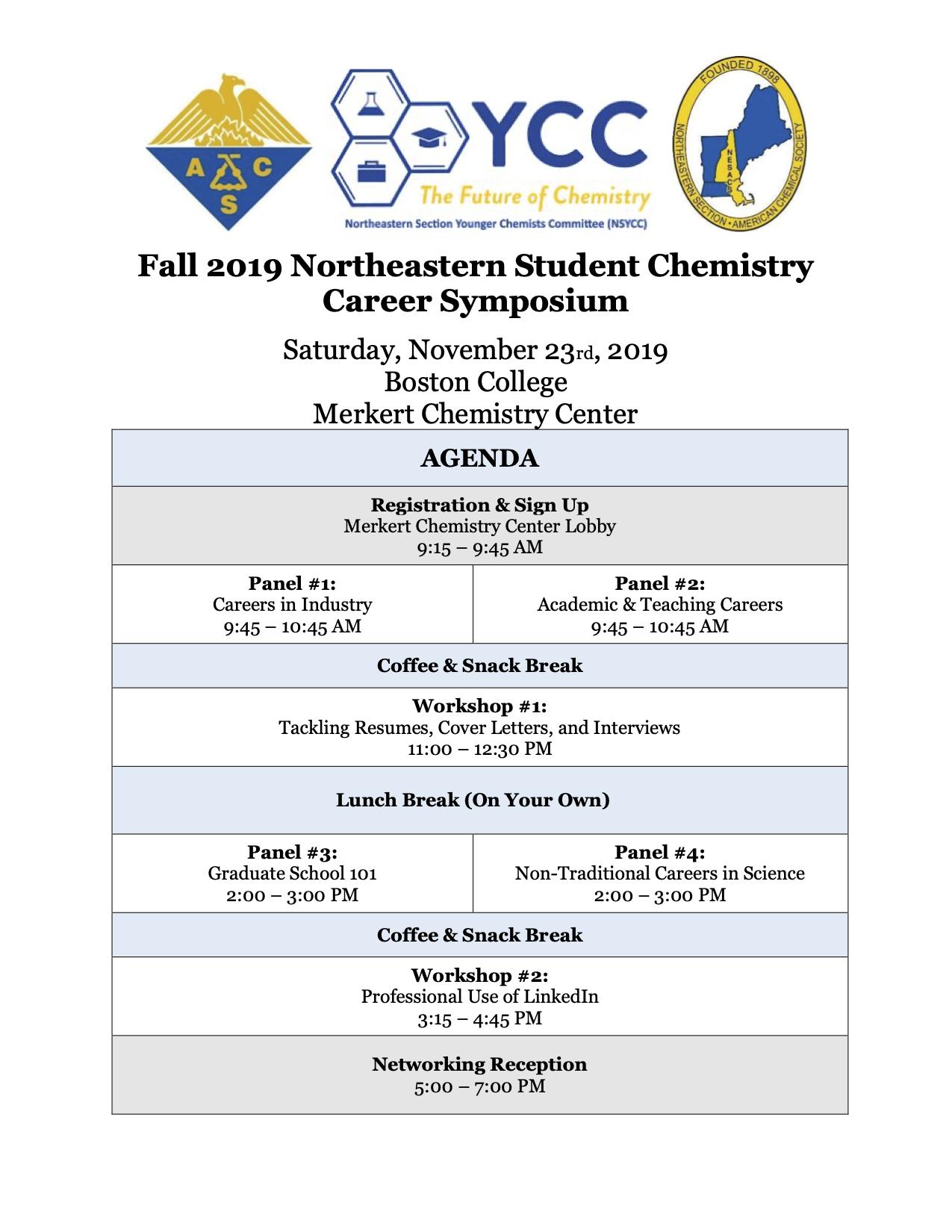 NSYCC Fall 2019 Career Symposium Schedule