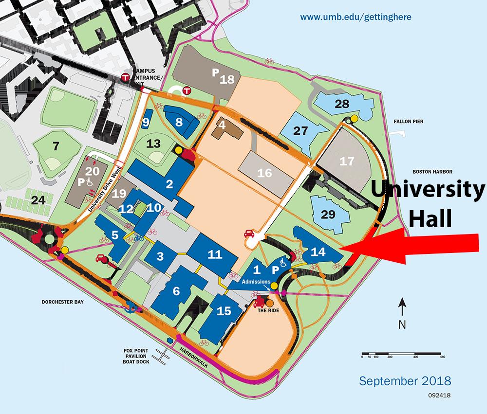 Location of the 2018 Fall Career Symposium at UMass Boston - University Hall - Building 14