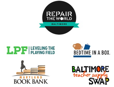Repair the World Baltimore, Teacher Supply Swap, Bedtime in a Box, Leveling the Playing Field, MD Book Bank