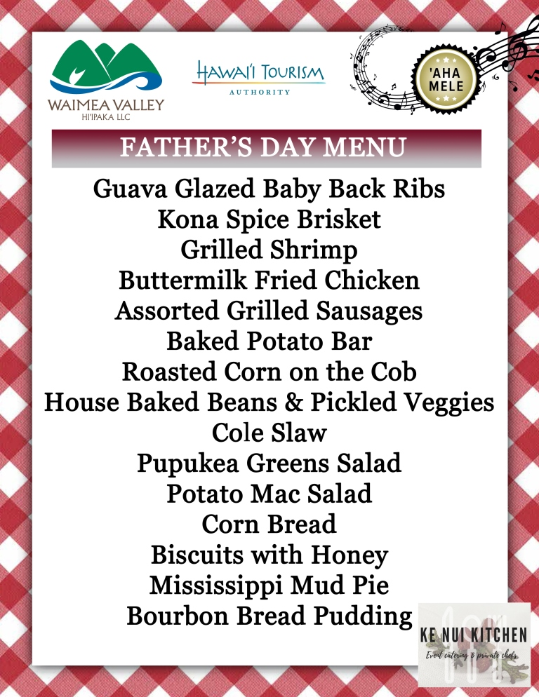Father's Day Ke Nui Kitchen Menu