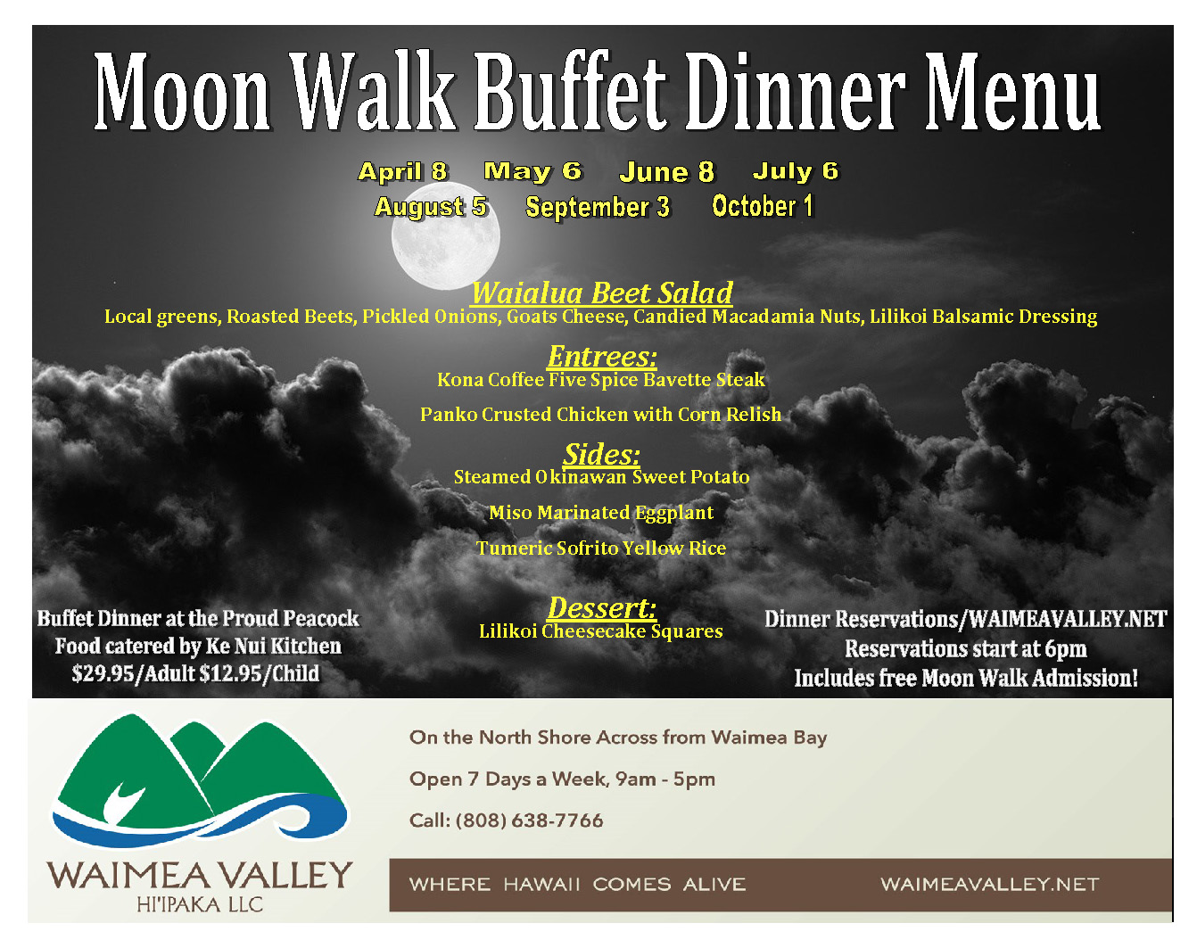 Moon Walk Buffet Line Menu