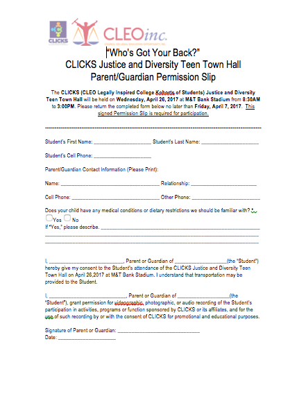 Teen Town Hall Permission Slip