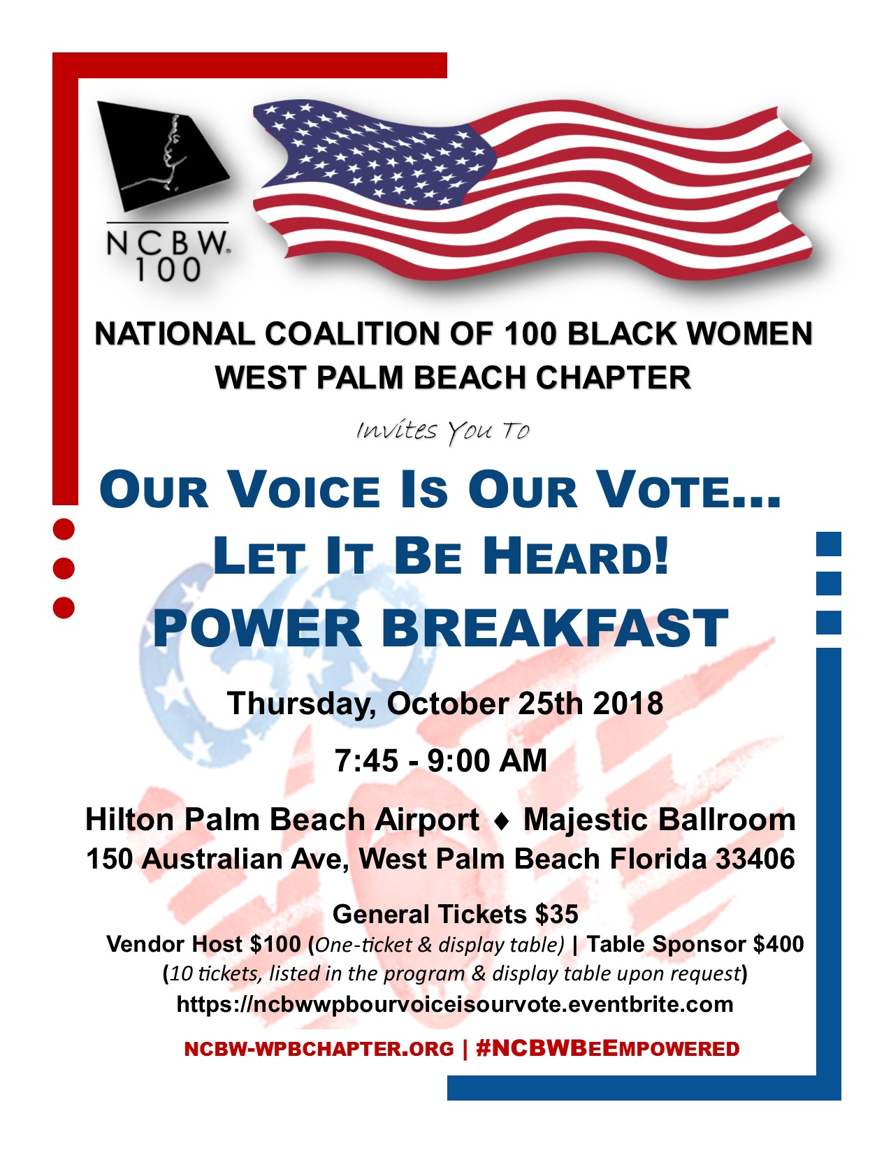 NCBW West Palm Beach Chapter-Our Voice Is Our Vote 10252018