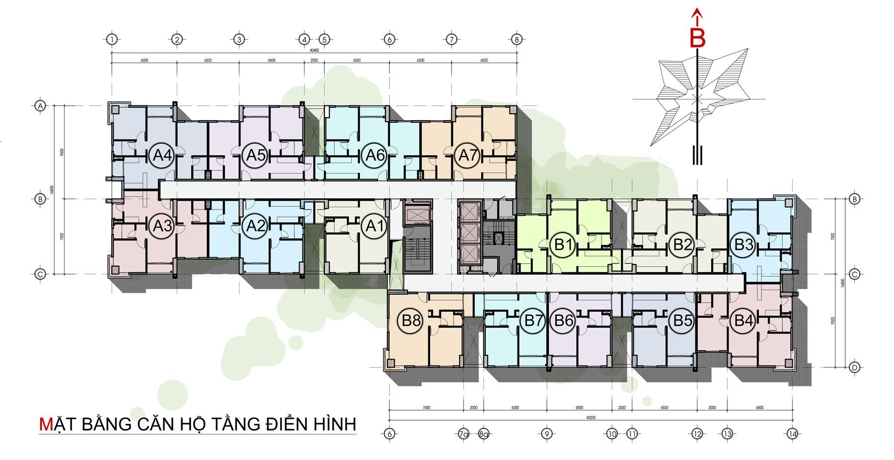 mặt bằng thiết kế căn hộ the avila 2