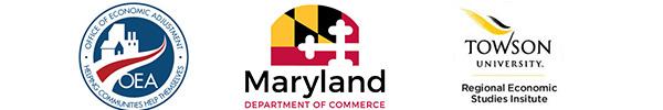 Office of Economic Adjustment logo, Maryland Department of Commerce logo,Towson Regional Economic Studies Institute Logo