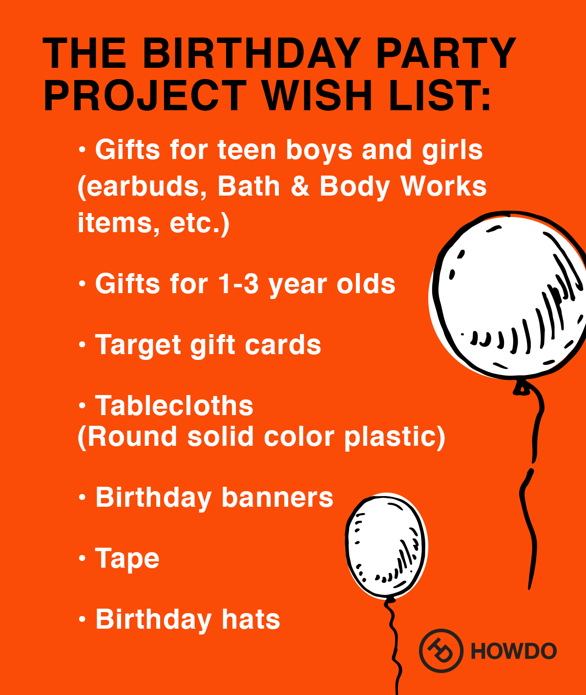 The Birthday Party Project Wish List