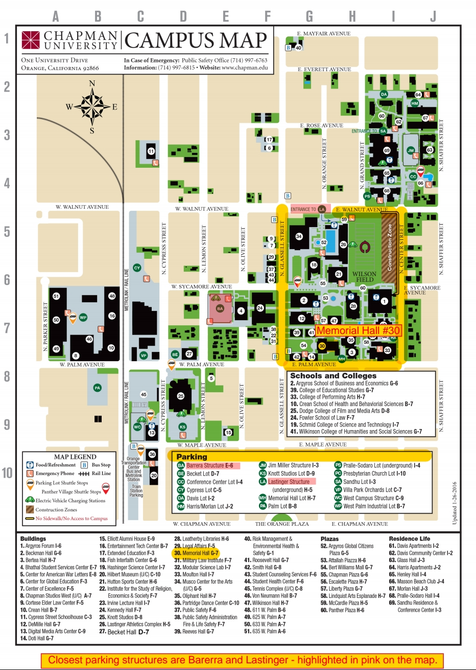 Chapman Campus Map