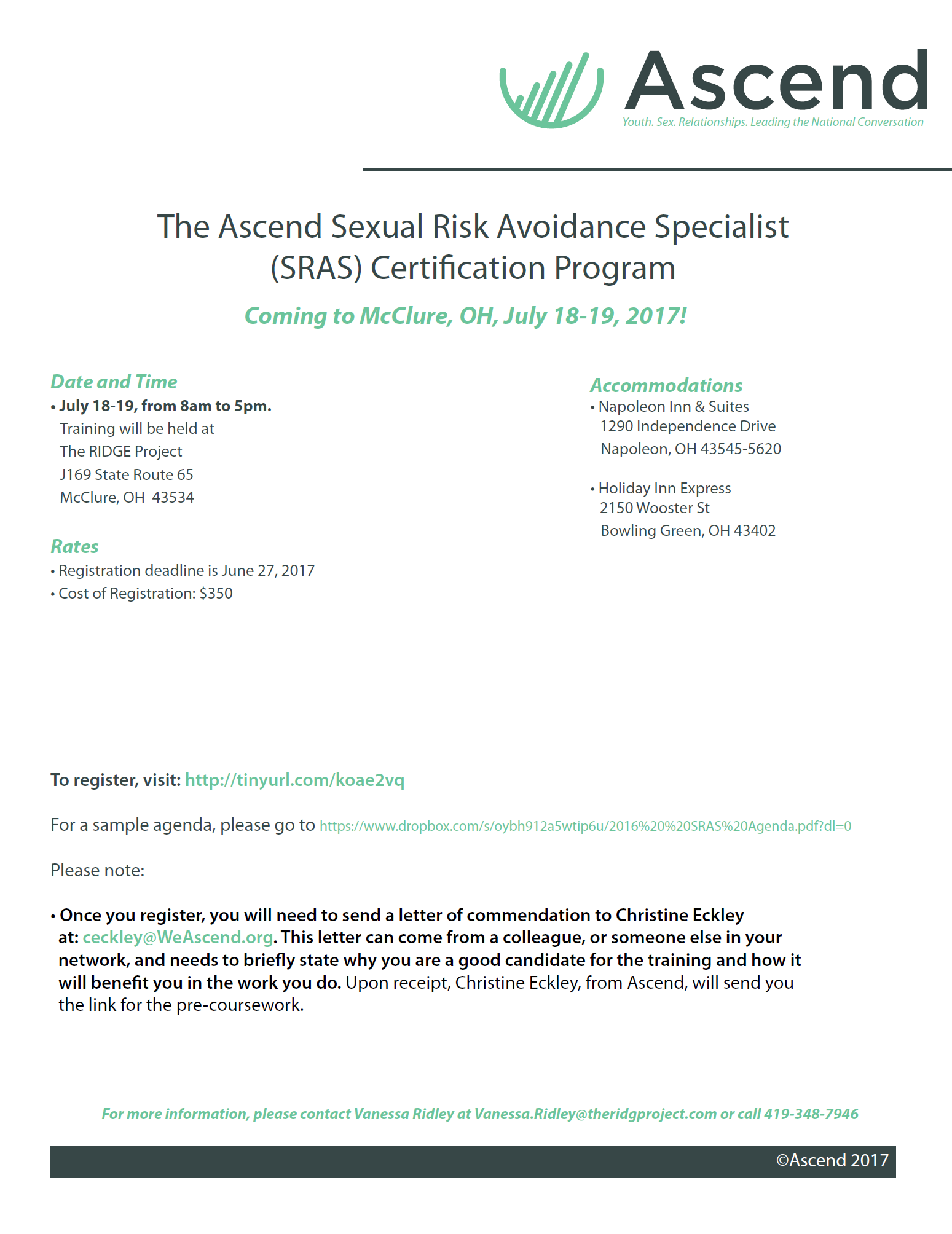 Ascend Sras Certification Training Mcclure Oh Tickets Tue Jul