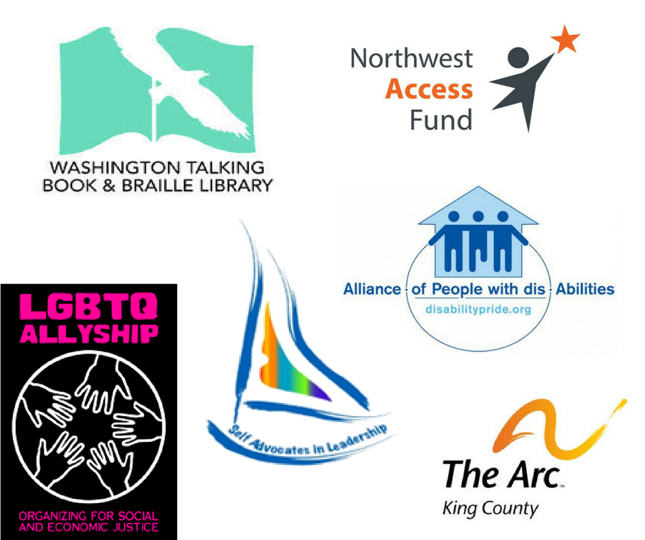 Arc of King County, the Alliance of People with disAbilities, Northwest Access Fund, the Washington Talking Book and Braille Library, Self Advocates in Leadership, and the LGBTQ Allyship will be tabling with informational pamphlets and representatives at this event