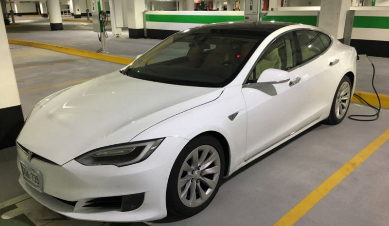 Tesla Model S Charging up at Yorkdale East Charging Stations