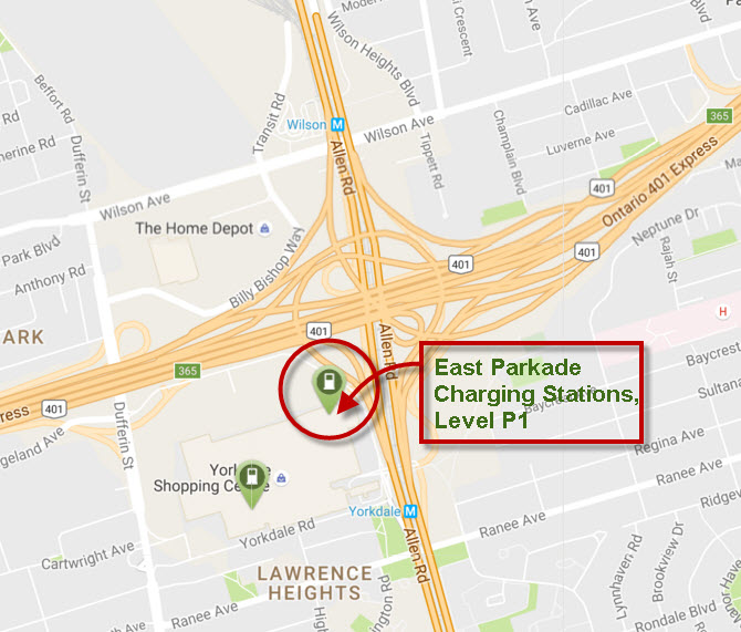Map View of Yorkdale East Parkade Charging Stations