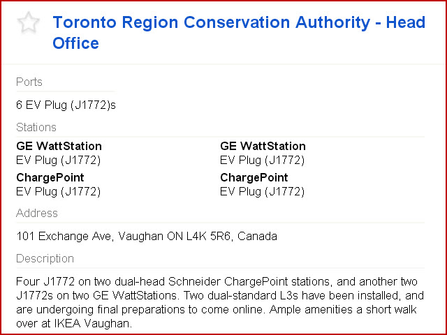 Toronto Region Conservation Authority - Head Office - PlugShare Info