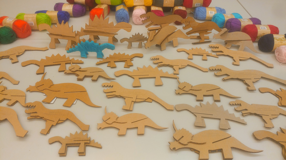 Laser cut cardboard dinosaurs
