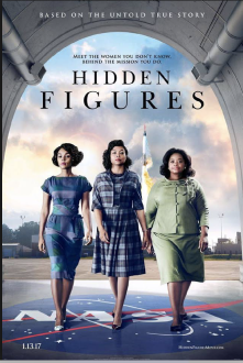 Cover Photo of the Hidden Figures Movie, Three women walking with a space ship in the background.