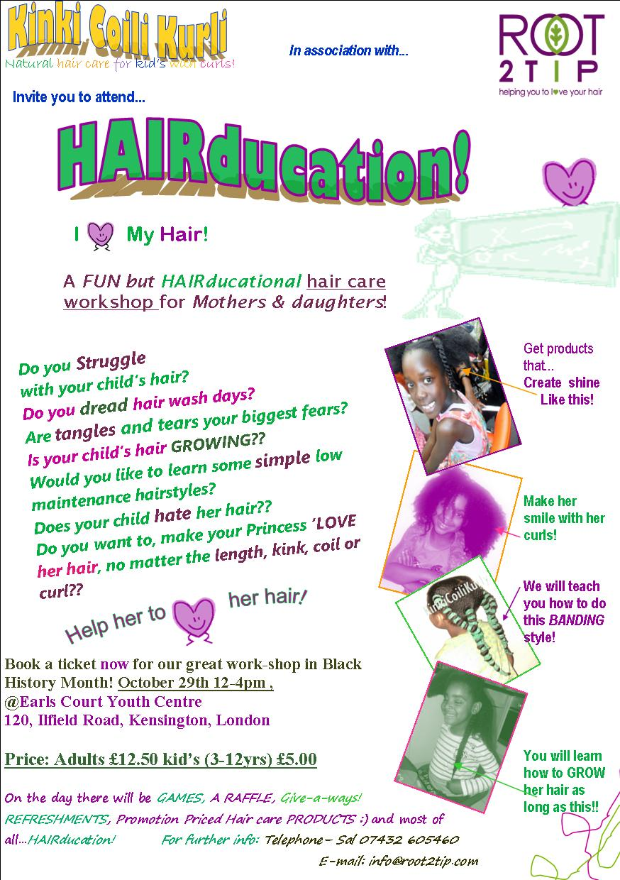 HAIRucation, a WORKSHOP for Mum's who want to learn how to GROW and maintain their child's Afro or Curly hair
