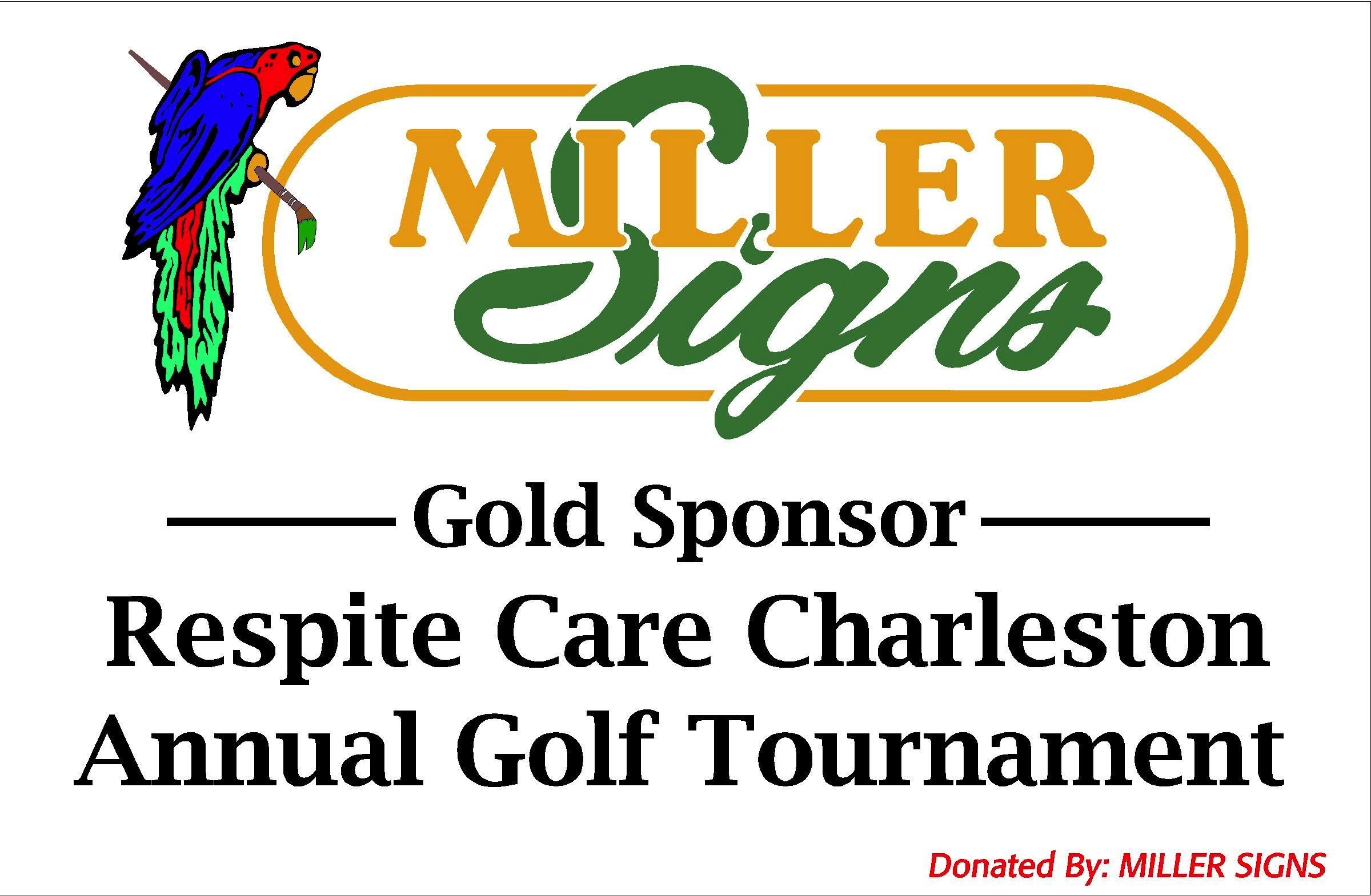 $1000 + Sponsor Sign Sample 24x36 - 2012 Gold Sponsor Miller Signs