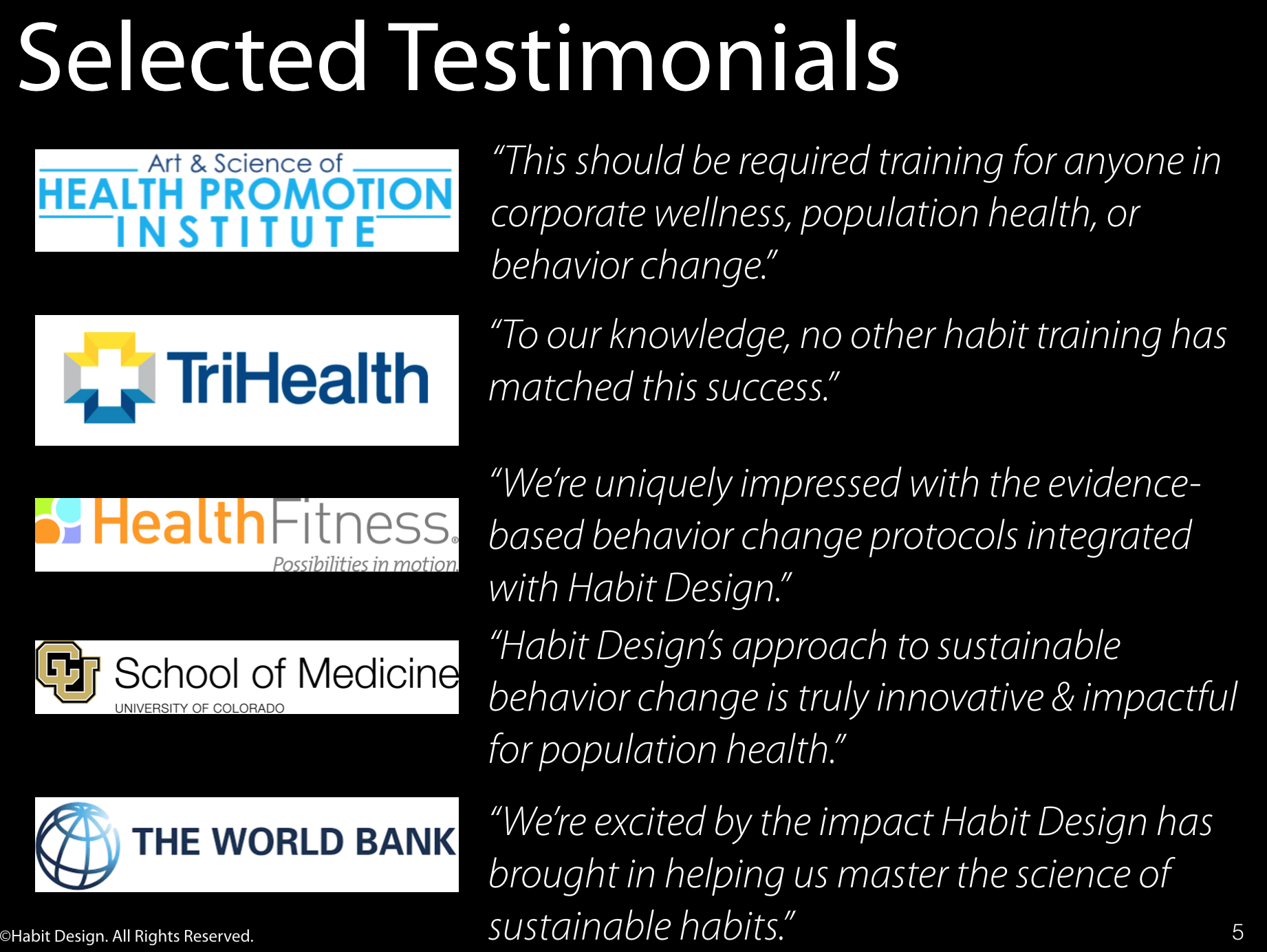 Selected Testimonials