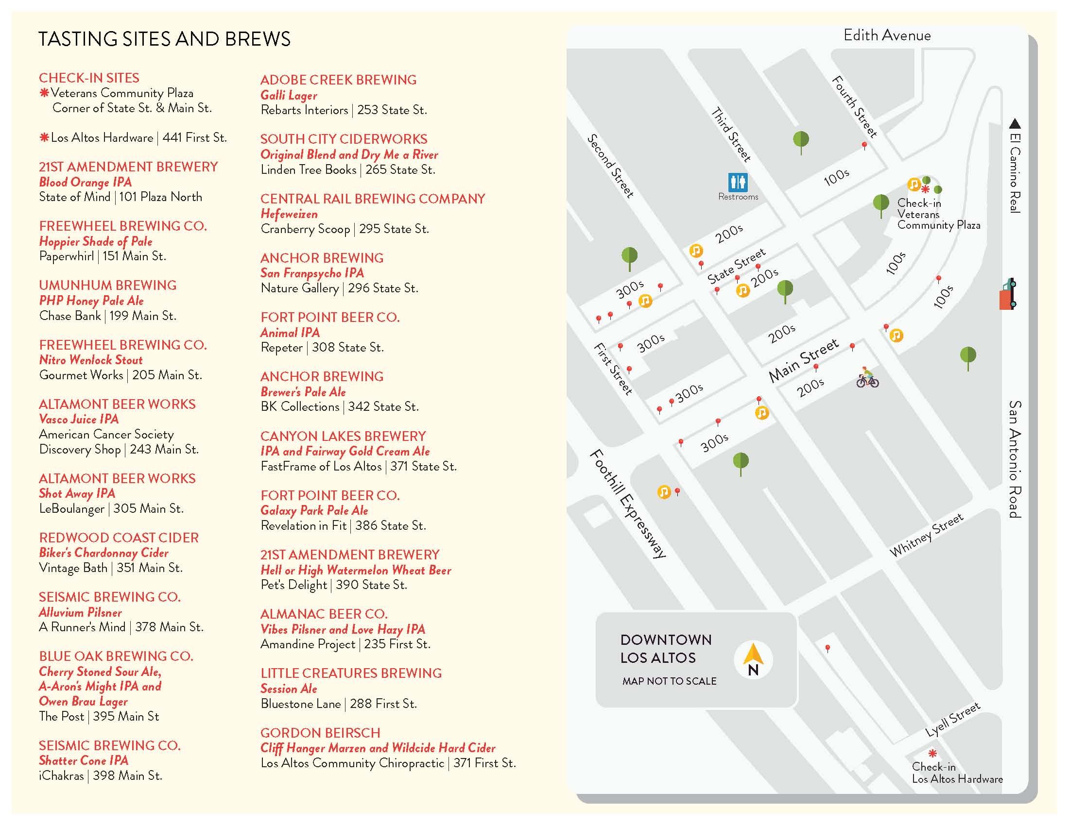 Downtown Los Altos Beer Stroll Tasting Map