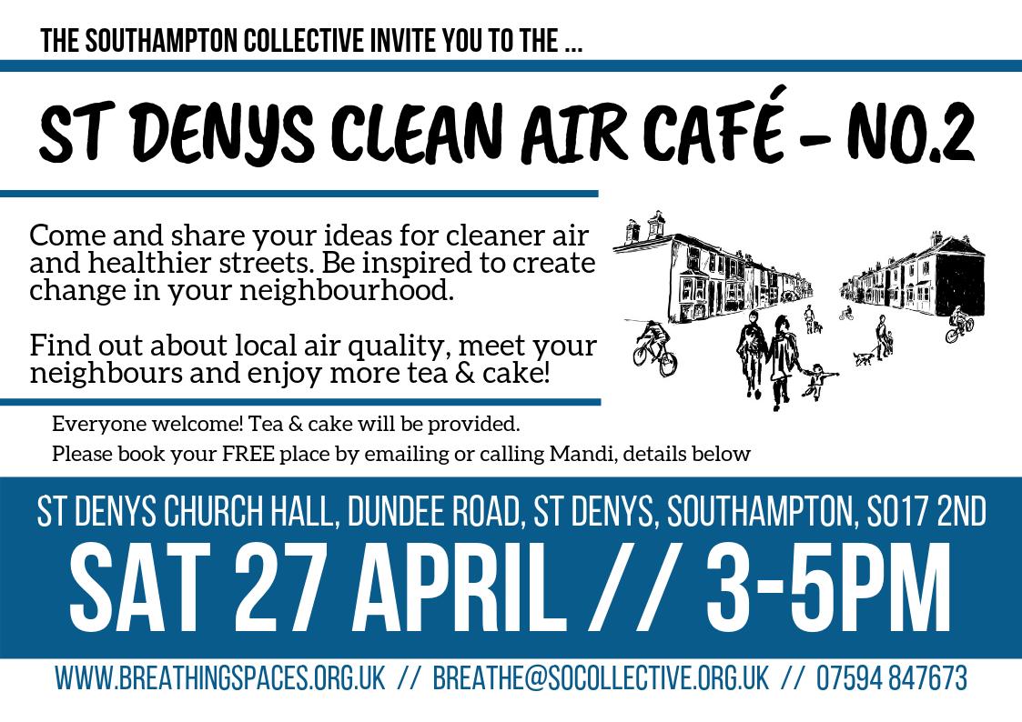 St Denys Clean Air Café No2 - flyer