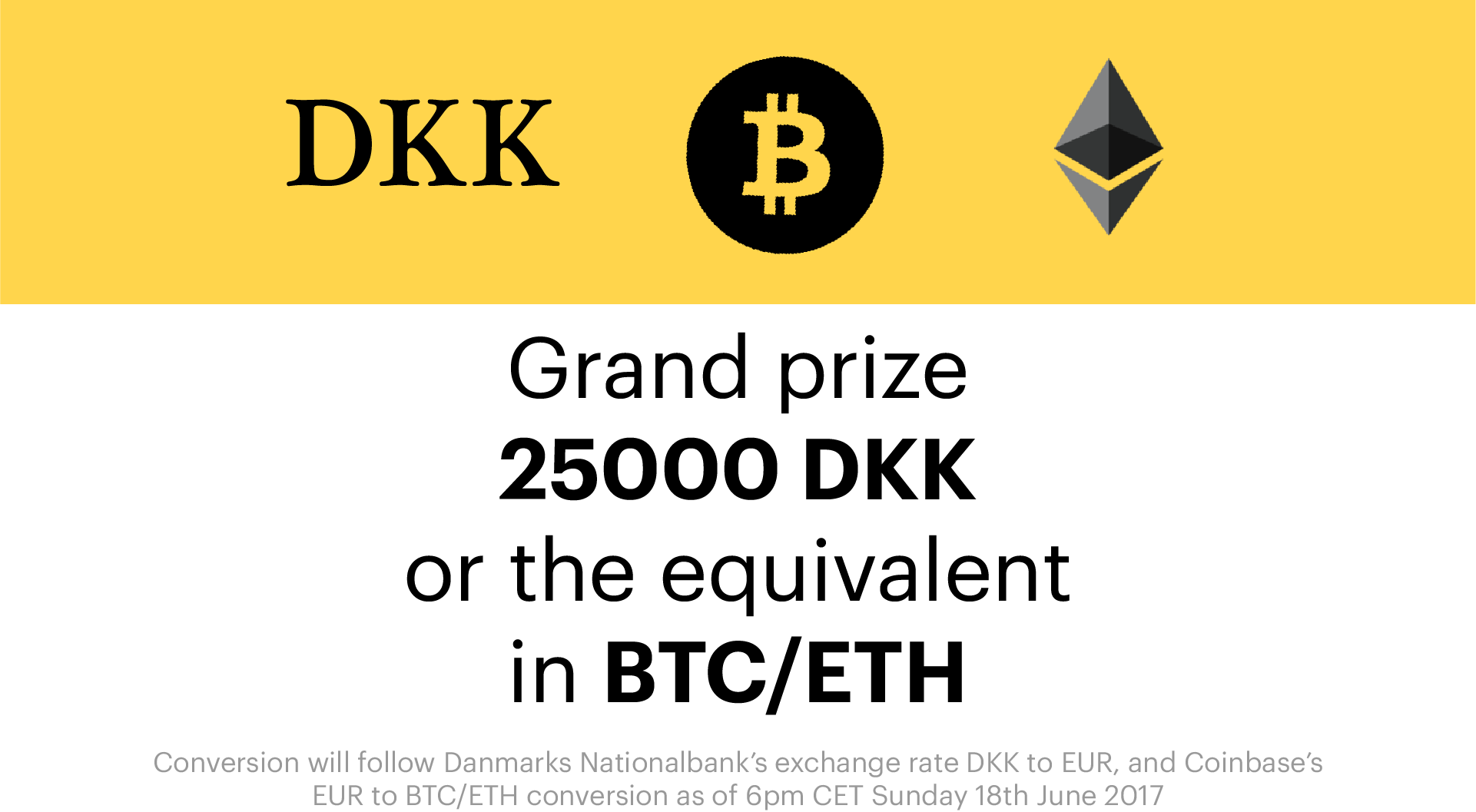 Choose between DKK, BTC or ETH