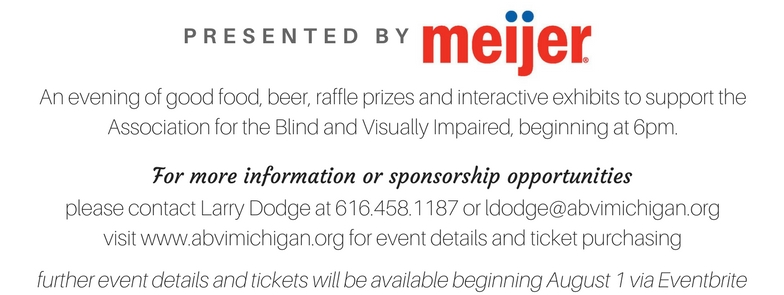 An evening of good food, beer, raffle prizes, and interactive exhibits to support the Association for the Blind & Visuall Impaired