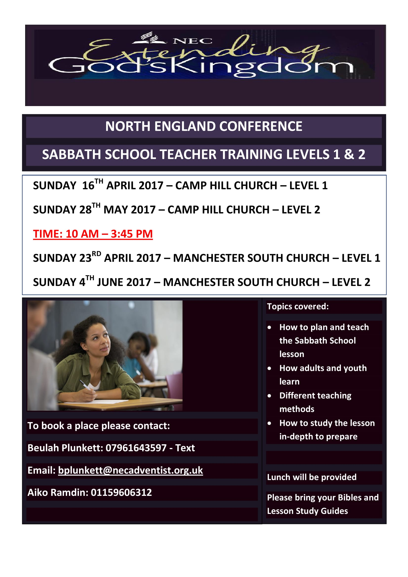 Sabbath School Teacher Training 2017 Poster