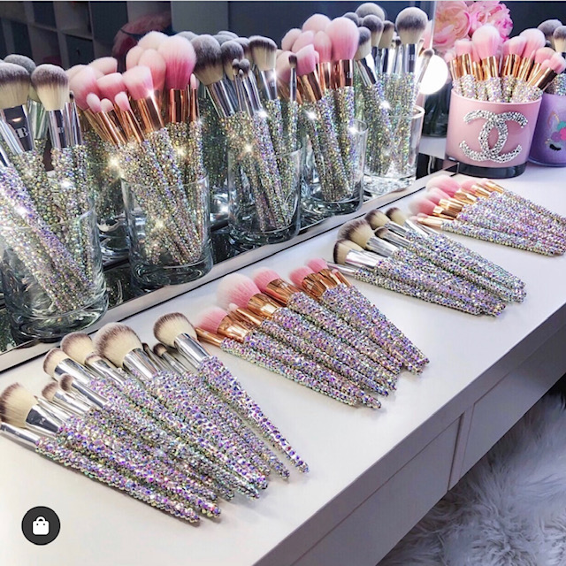 Blinged make-up brushes