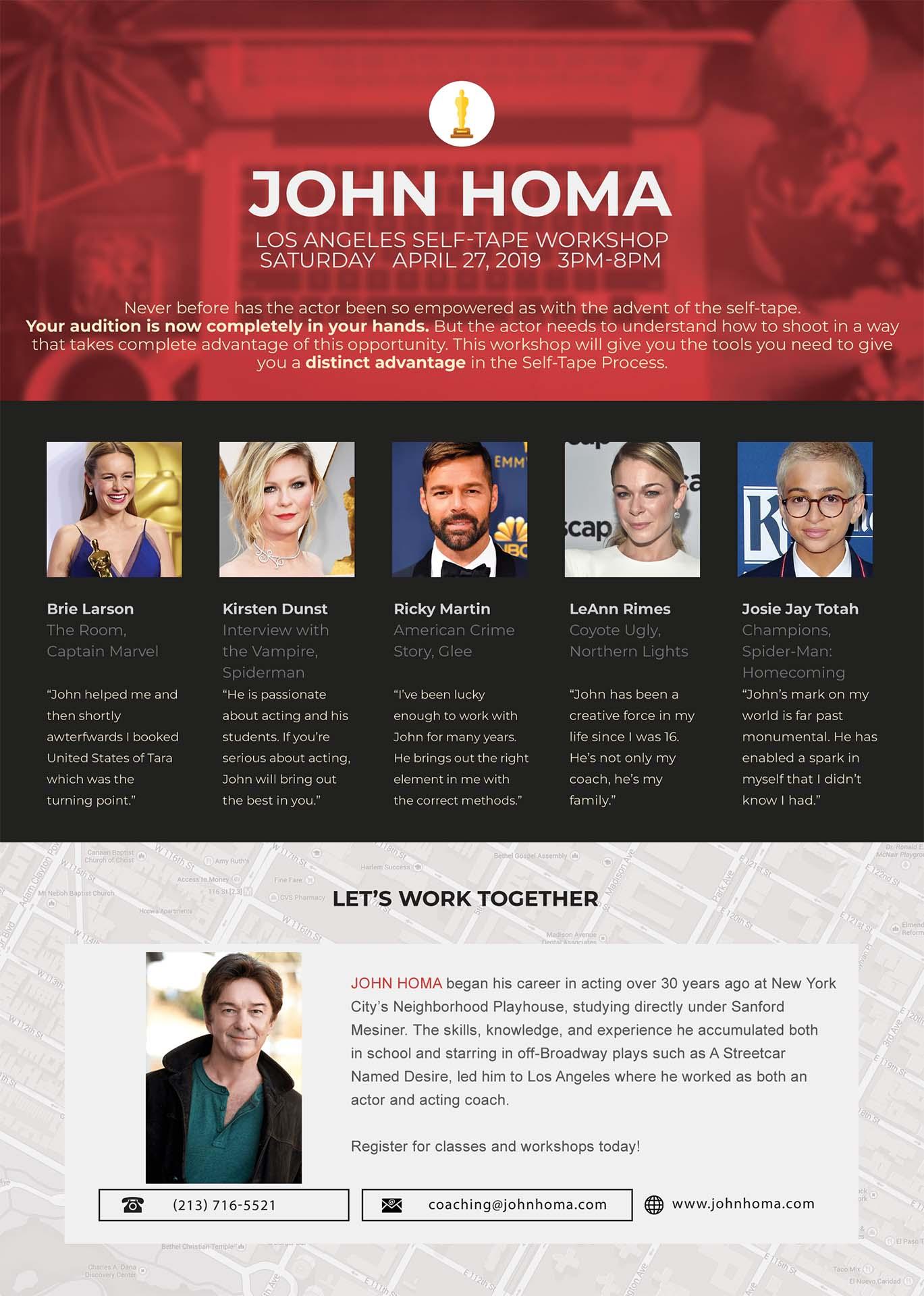 John Homa Acting Workshop Flyer
