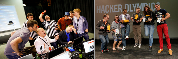 Hacker Olympics San Francisco some hackers are judged by a referee, some other shown with the winning trophies.