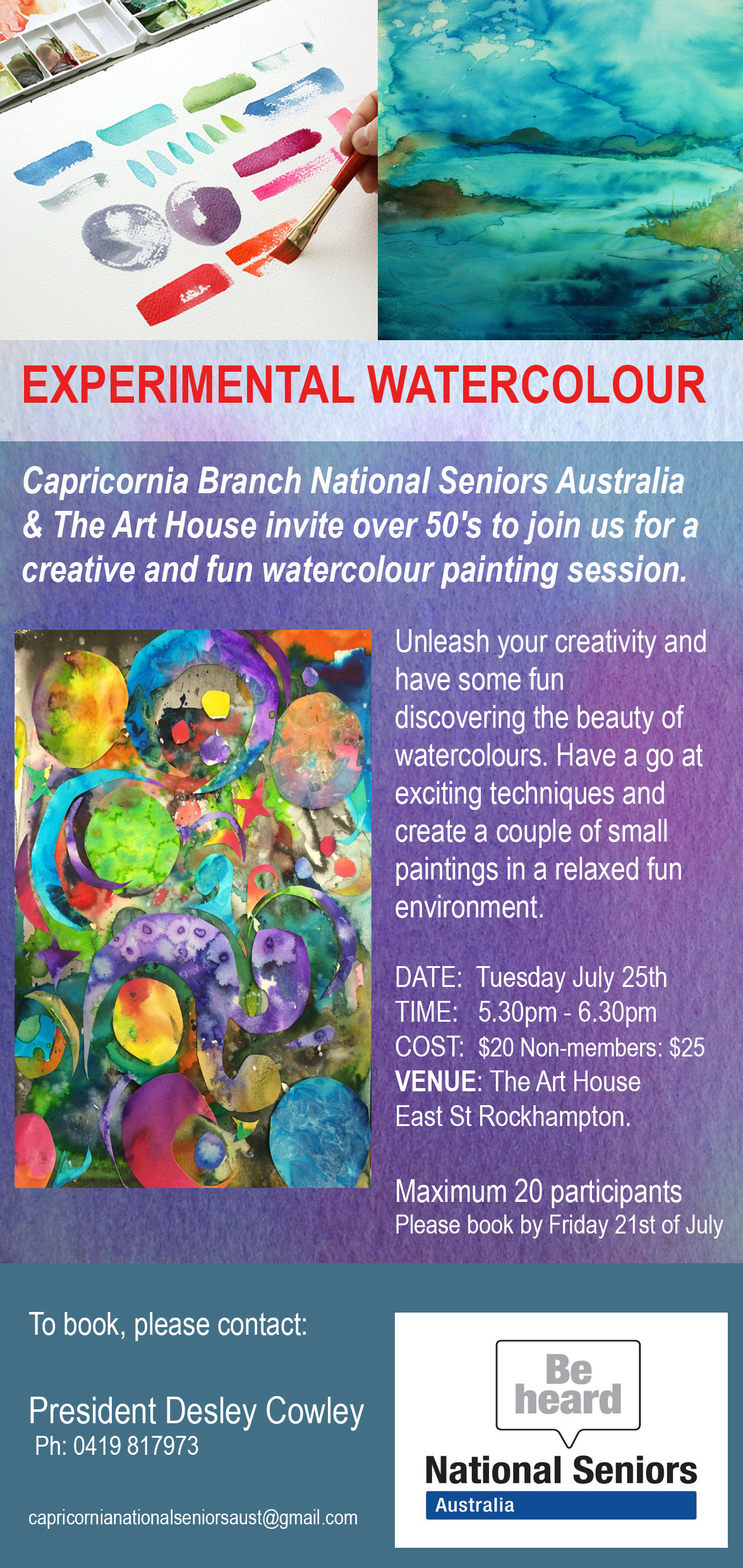 Experimental Watercolour Workshop flyer