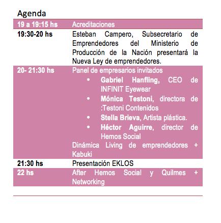 Agenda Living de emprendedores