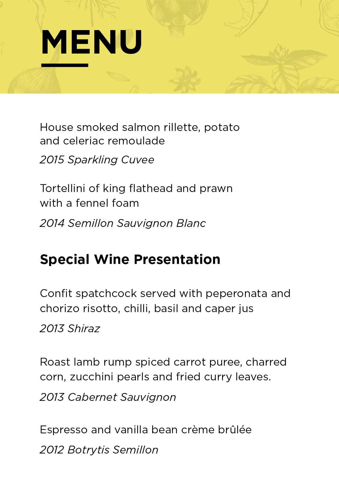 No. 10 Restaurant + Bar and Shaw Vineyard Estate Wine Dinner Menu
