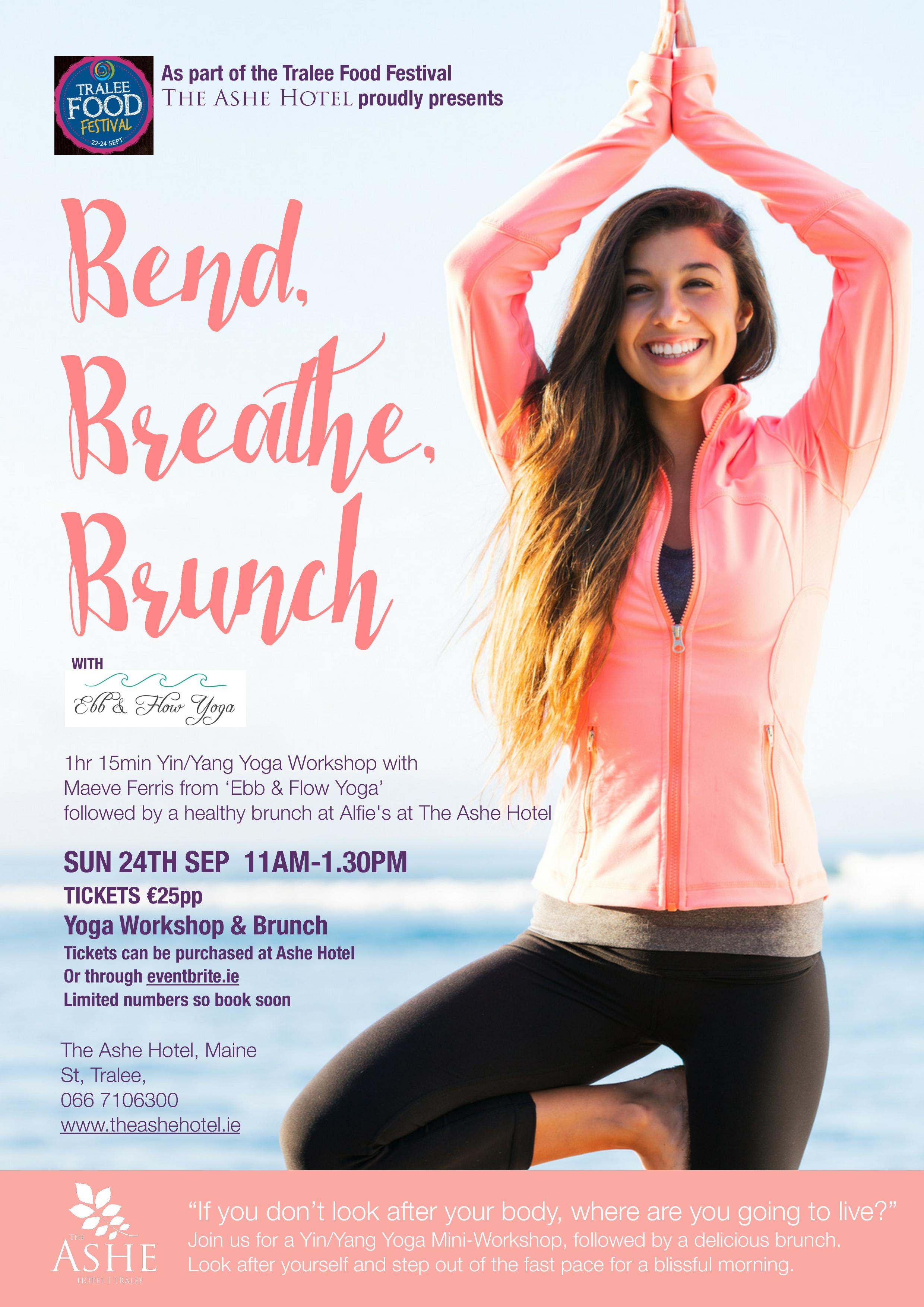 Bend, Breathe, Brunch Event Poster