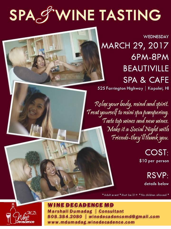 Spa & Wine Tasting - March 29, 2017