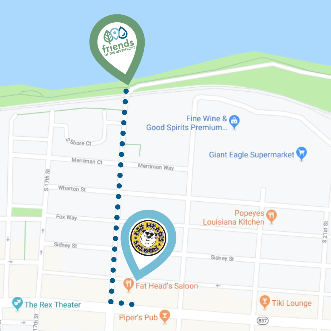 Map of South Side Pittsburgh showing 0.3-mile side walk route from Fat Head's Saloon to South Side Riverfront Park where event tent will be set up trailside