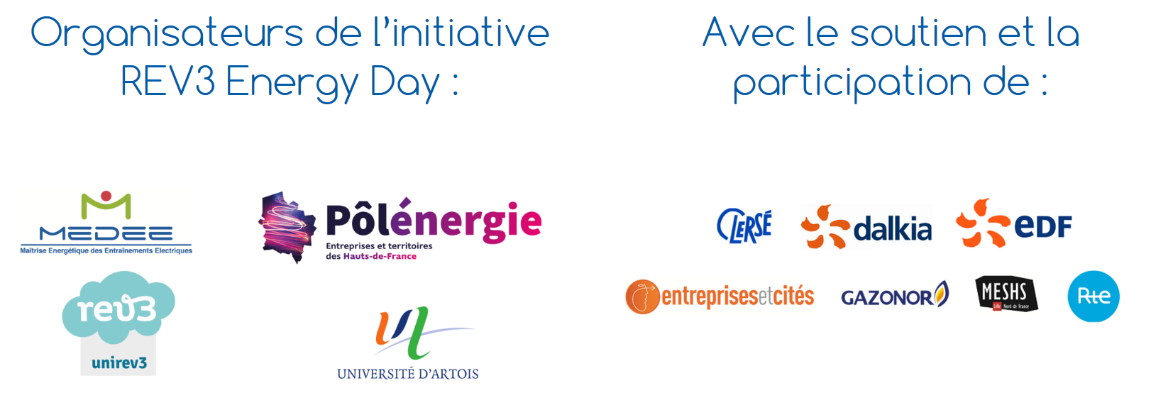 partenaires et sponsors de l'évènement edf rte gazonor dalkia clersé meshs entreprises et cités