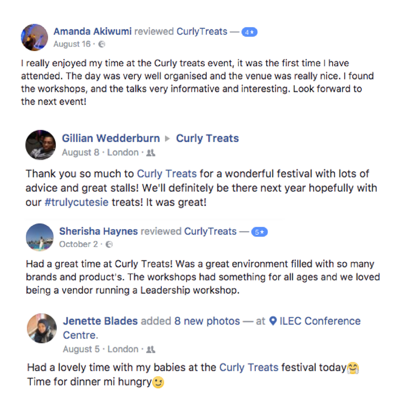 CurlyTreats Natural Hair Week 2018 in London - Testimonials