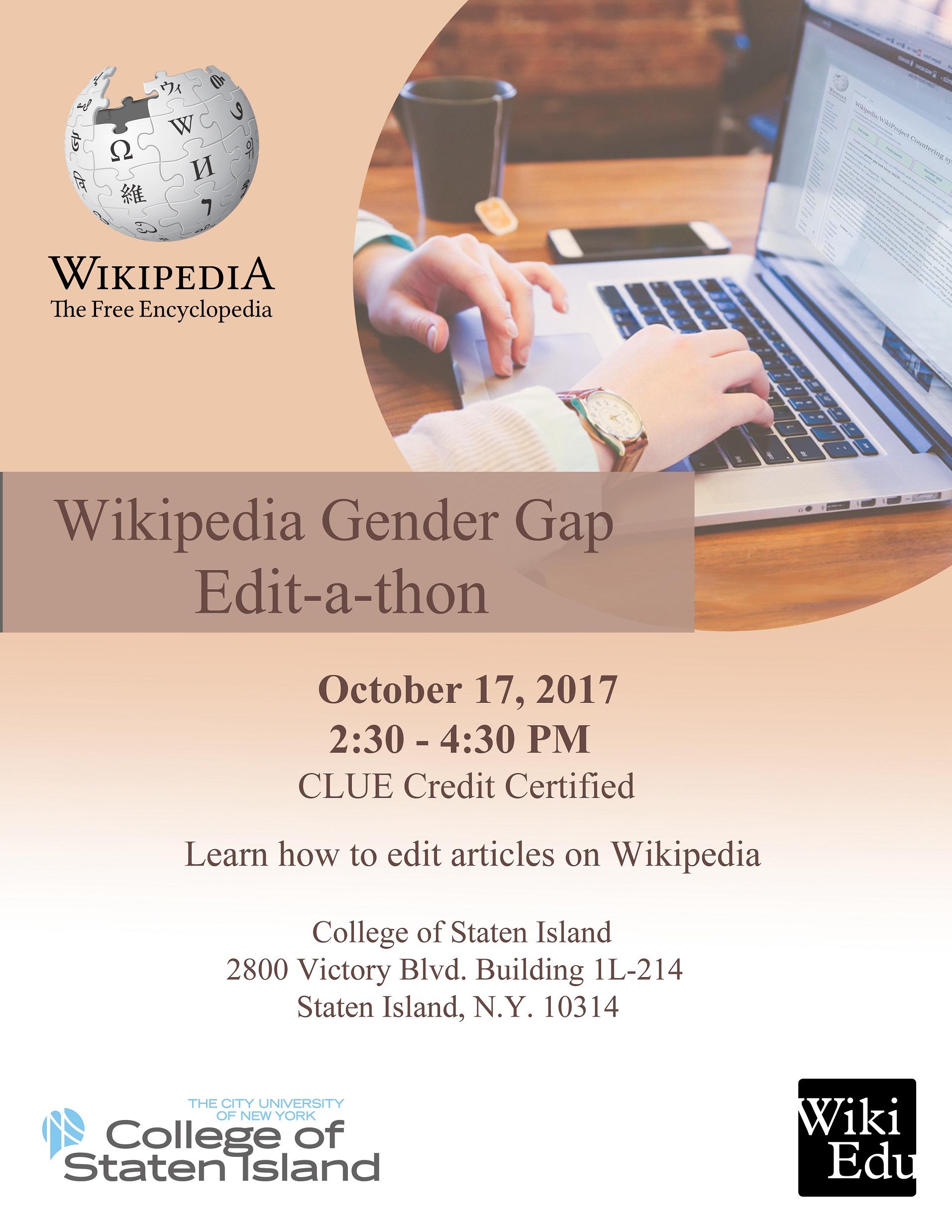 2017 Wikipedia Gender Gap Edit-a-thon Flyer