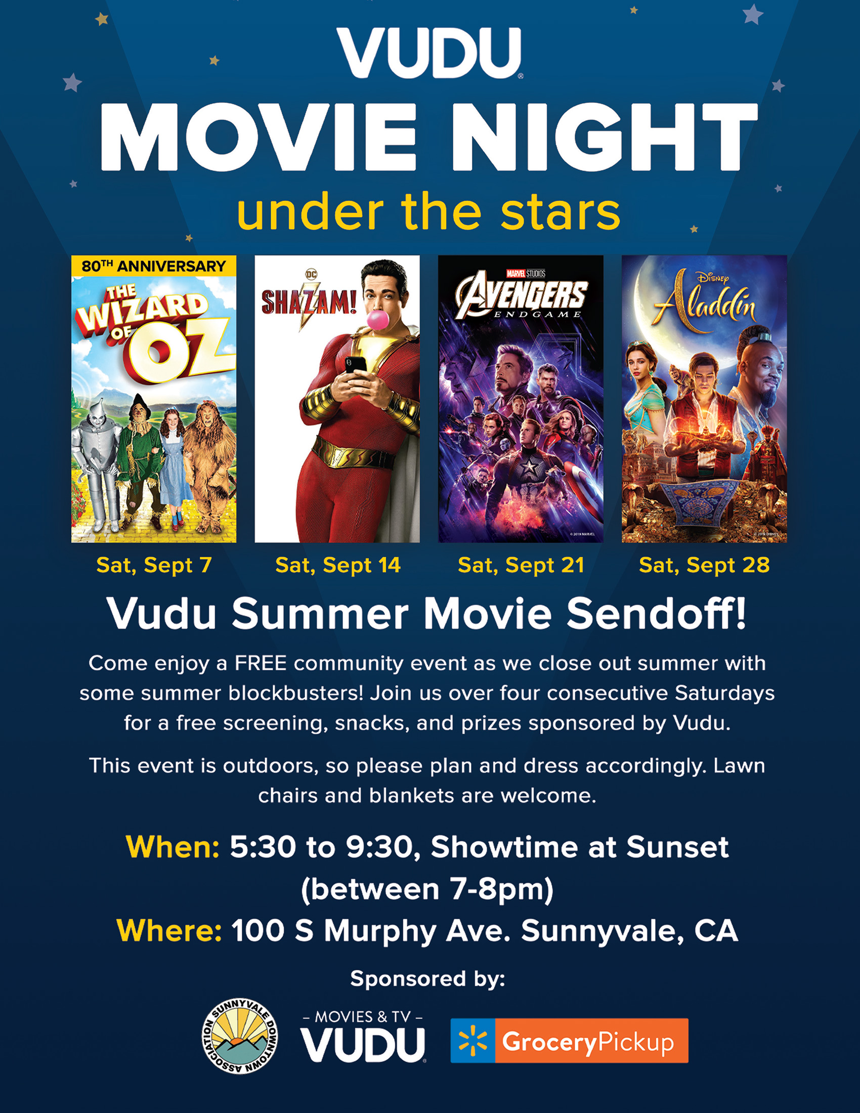 VUDU Movie Night Under the Stars! Tickets, Sat, Sep 28, 2019