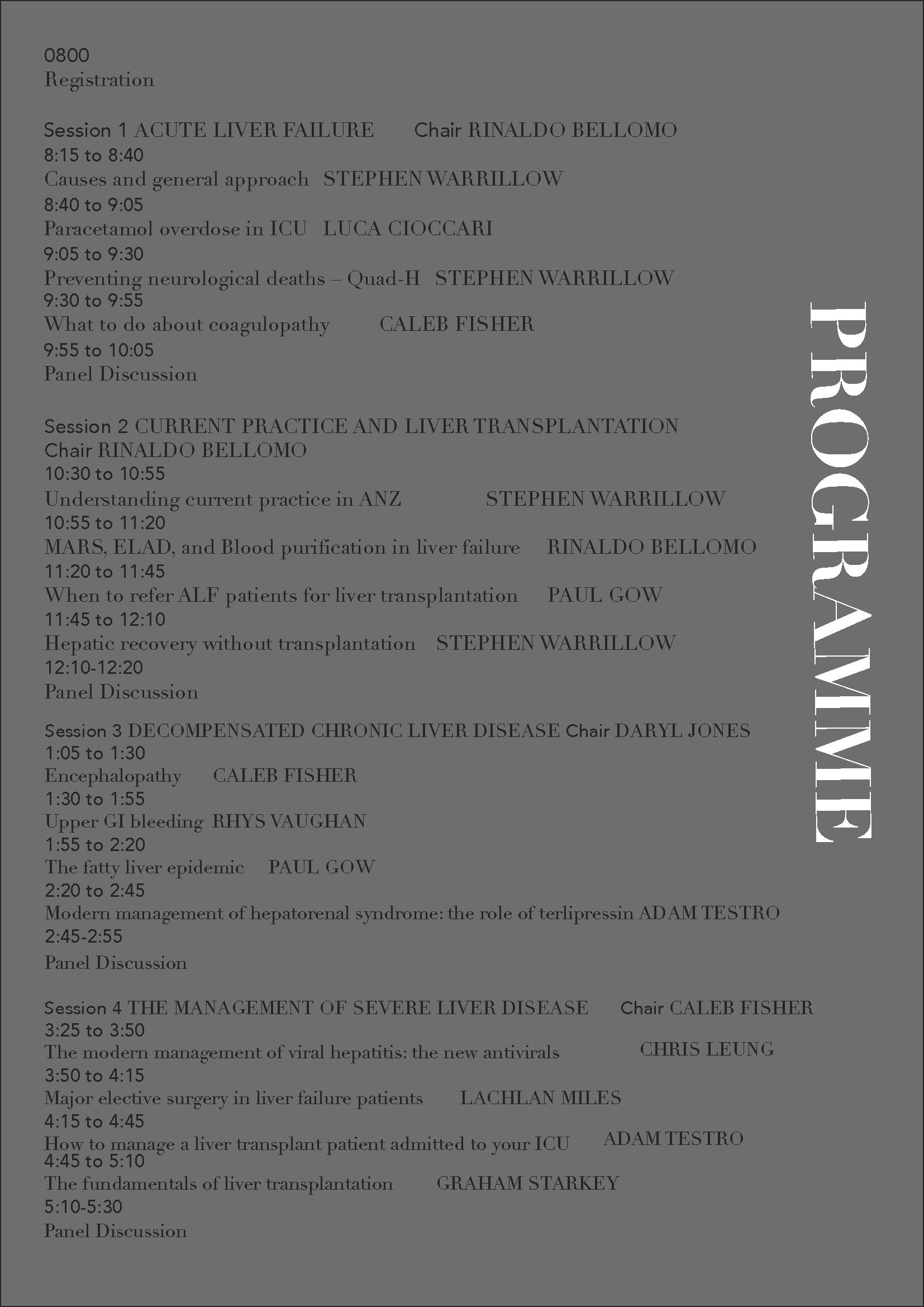 Programme ICU Hepatology Symposium