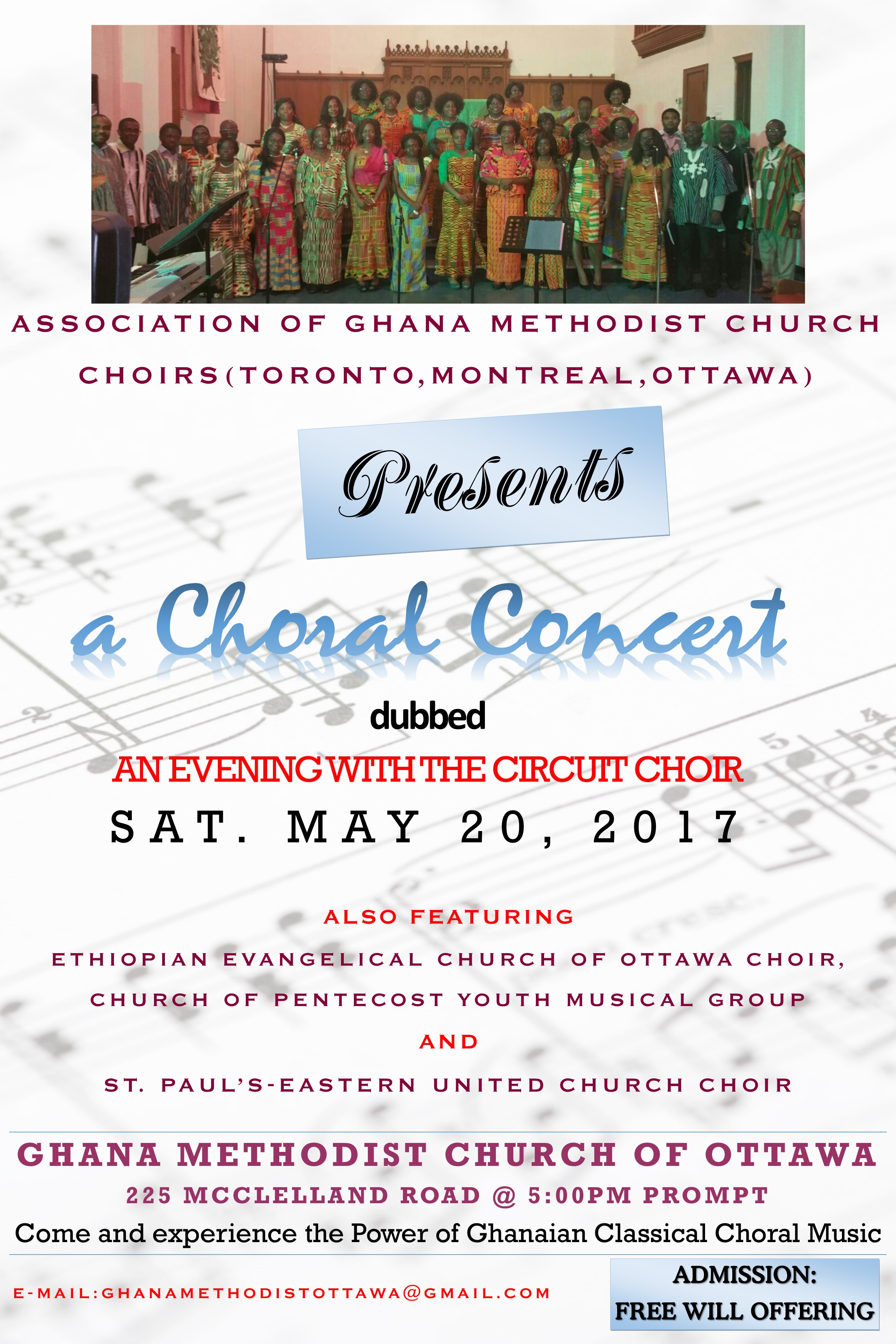May 20, 2017 Poster for Choral Concert by Choirs from Toronto, Montreal and Ottawa