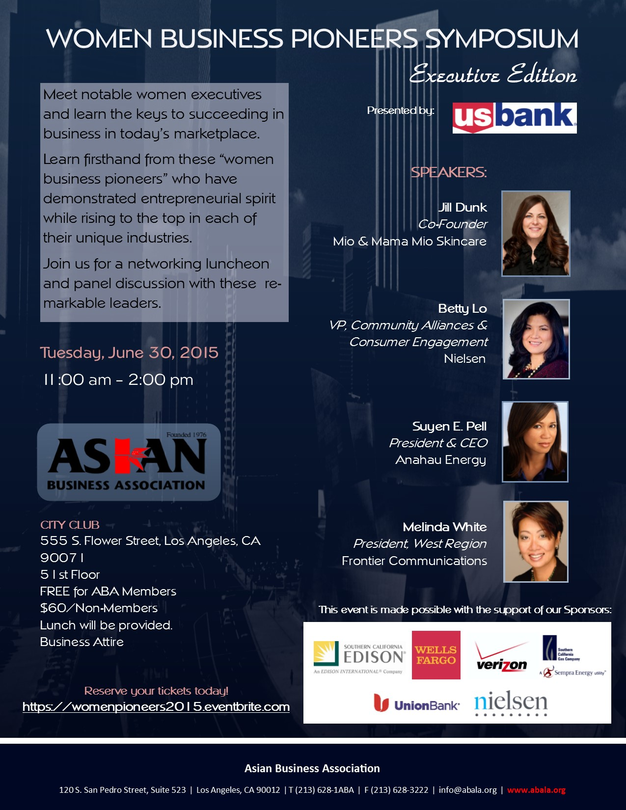 Check out our event at http://www.abala.org/events/womenpioneers/
