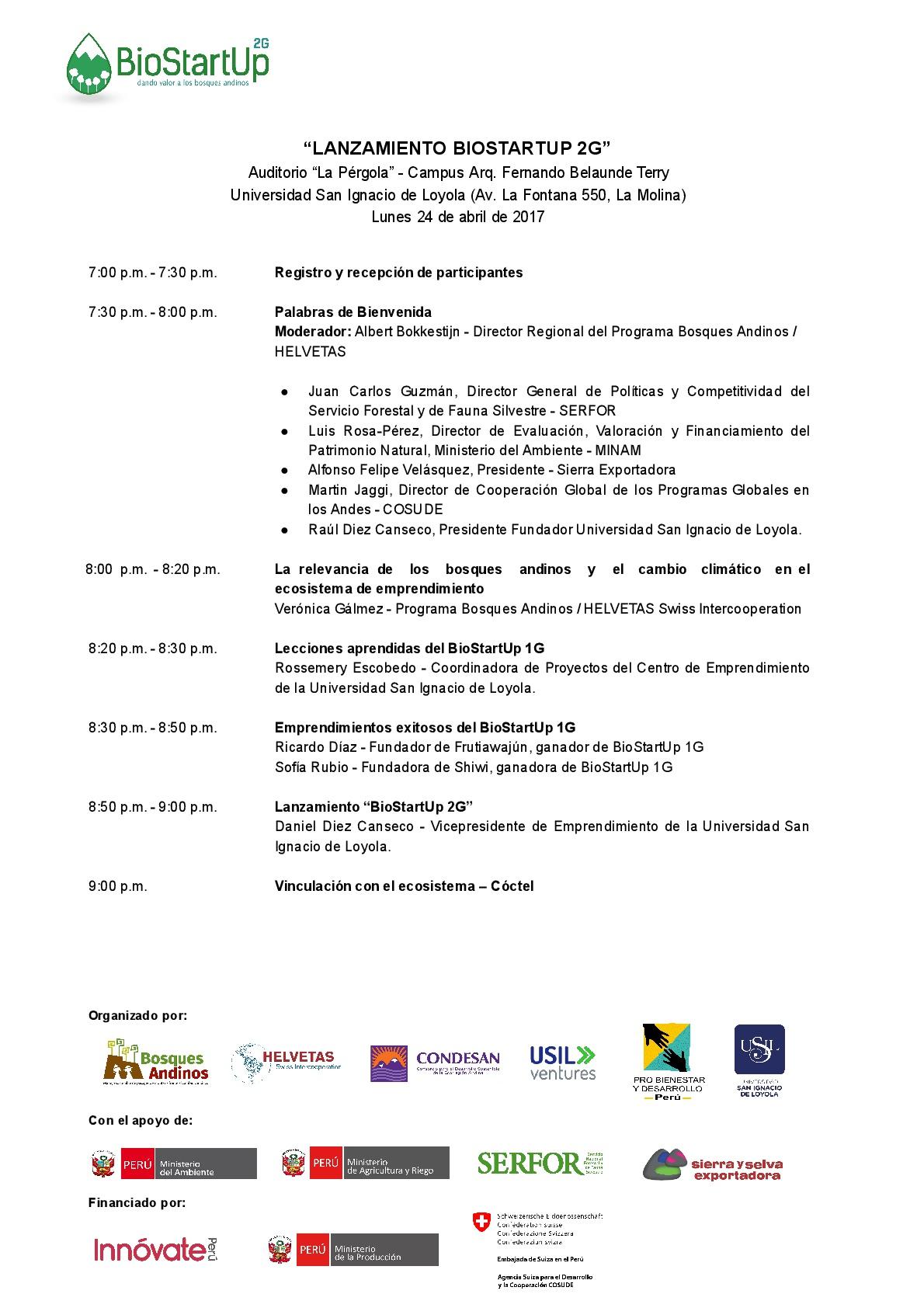 Programa de Lanzamiento del Programa BioStartUp 2G