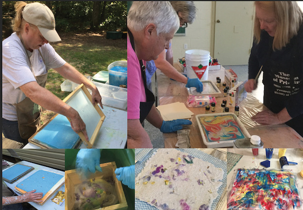 Nancy making paper, teaching marbling, and sample pages.