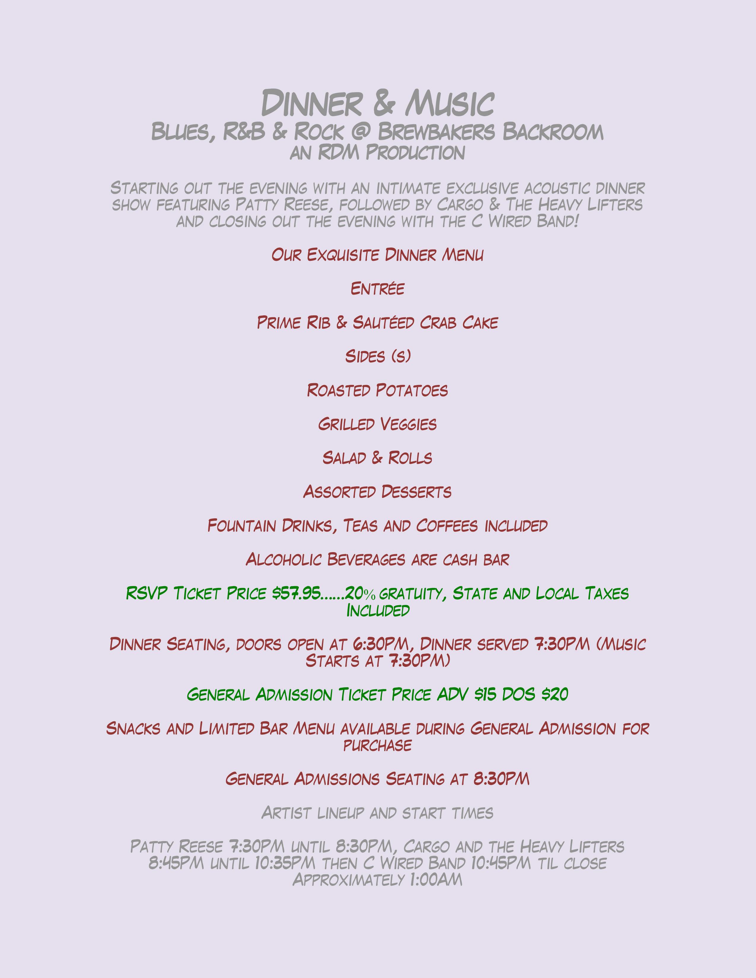 Event Details Dinner Menu