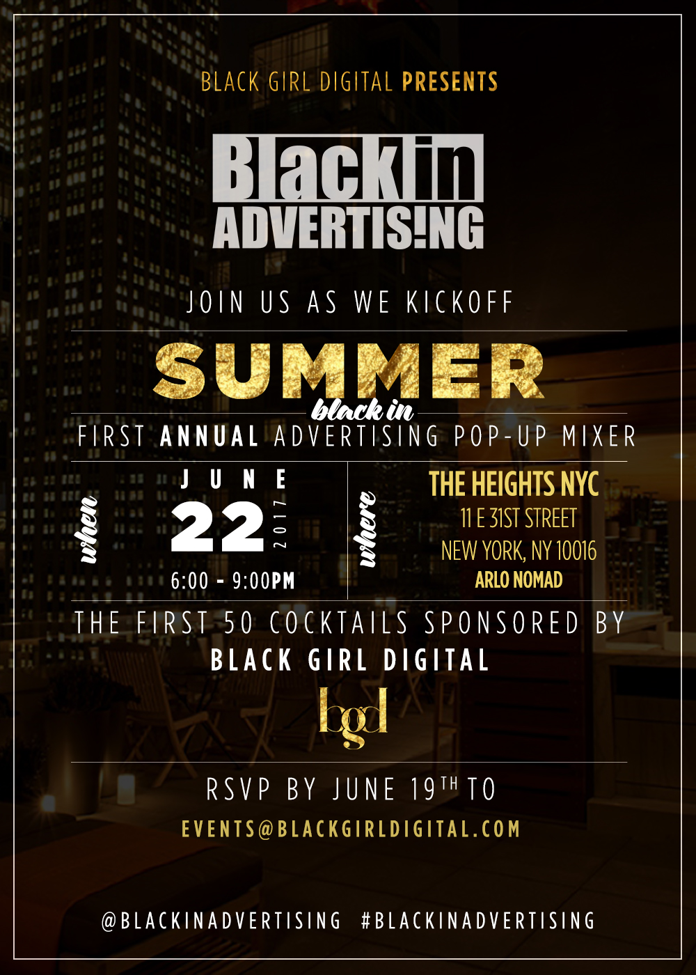 The First Annual Black in Advertising Pop-up Summer Mixer
