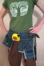 Tool belt made out of recycled jeans