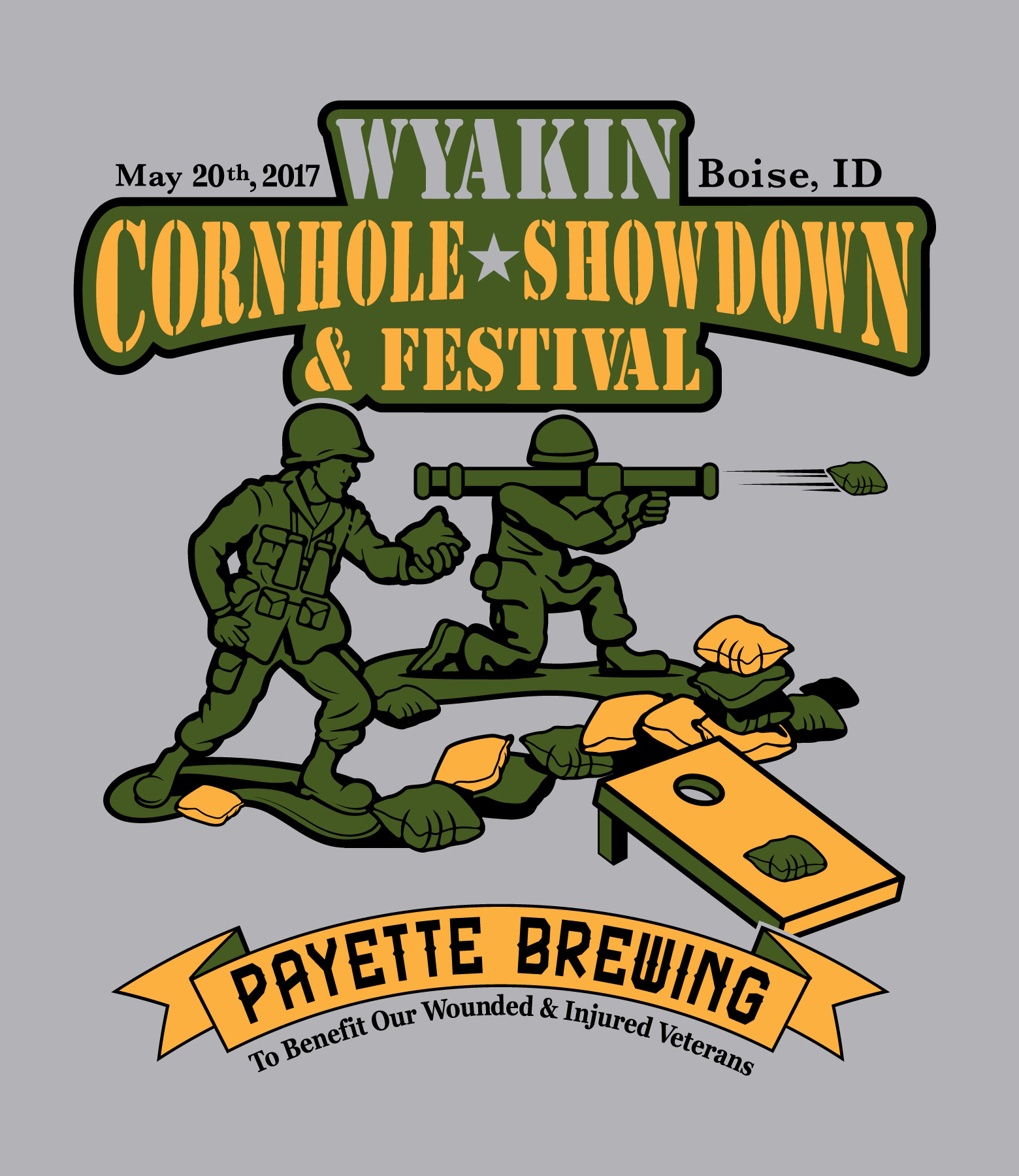 Wyakin Cornhole Showdown t-shirt logo