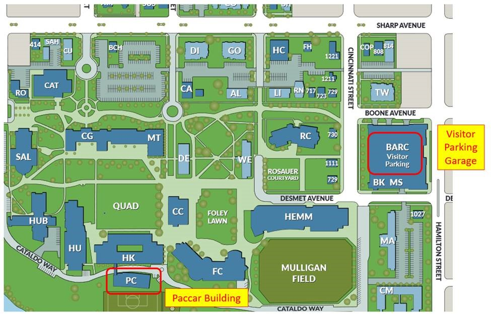 map of Gonzaga campus that highlights the BARC visitor parking and Paccar Building